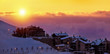 Beautiful sunset in snowy mountainous village