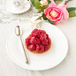 Tartlet with fresh raspberries, square