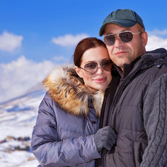 Beautiful couple on winter vacation