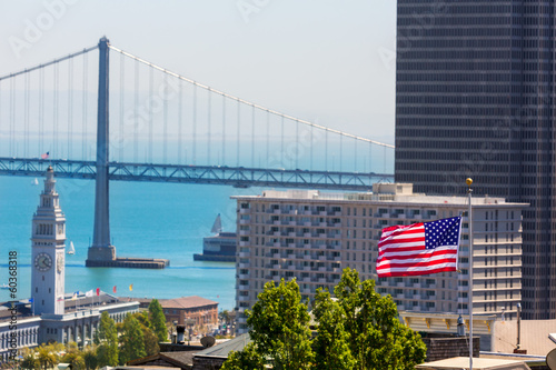 San Francisco USA American Flag Bay Bridge and Clock tower