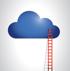cloud and stairs illustration design