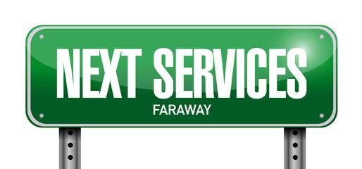 next services road sign illustration design