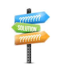 solution and question signs illustration