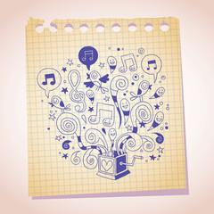 music box note paper cartoon sketch