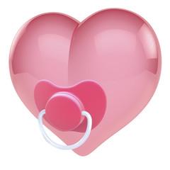 Pink Herz aus mit Beruhigungssauger, Nucki, 3D Rendering