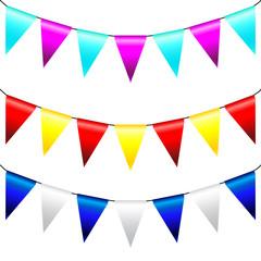Multi Colored Triangular Flags . Vector