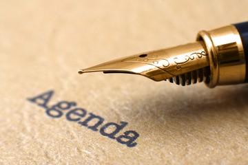Fountain pen on agenda
