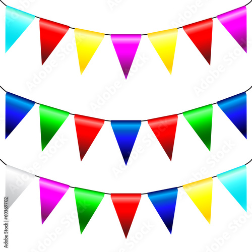 Multi Colored Triangular Flags . Vector