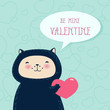 Funny cat with heart. Valentine's day greeting card