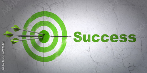 Business concept: target and Success on wall background