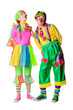 Couple of happy clowns. Isolated on white