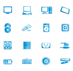Computer and accessories icon isolated on white background