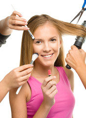 Makeover process of a young teen girl