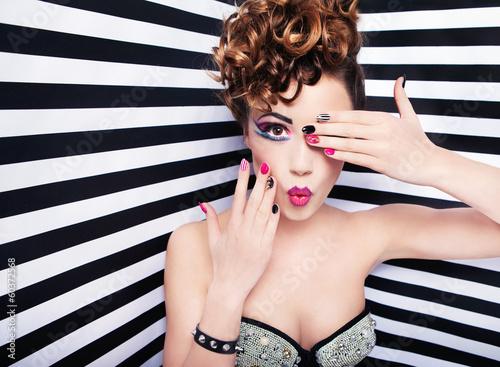 Beautiful young woman glam rock style fashion and make up - 60372568