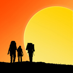 Silhouette of hiking friends