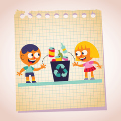 Boy and girl recycling note paper cartoon illustration