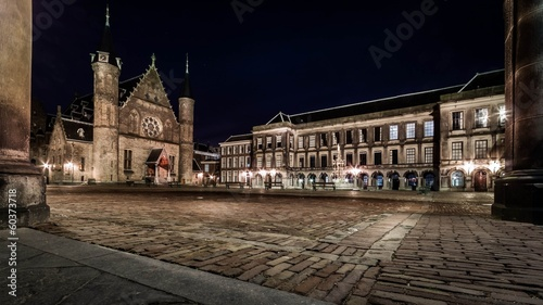 Night view of the Dutch parliament and court building