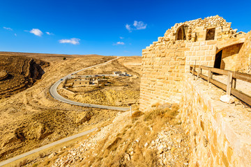 scenic desert viewed from the Shawbak castle in Jordan