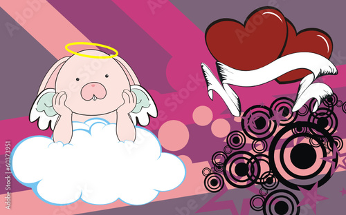 bunny cartoon cherub background