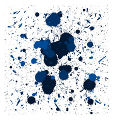 vector blue brush splatters