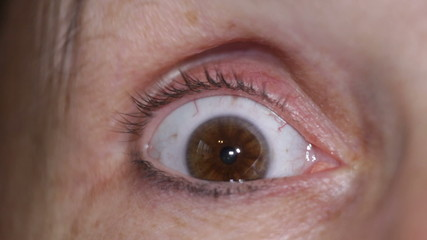 Macro of scared eye of middle aged female.