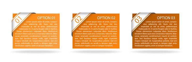 vector orange paper option labels