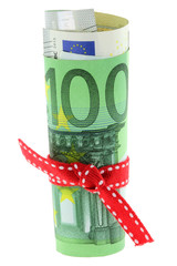 Rolled Euro banknote with a red ribbon bow