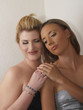 Two Blond Caucasian Woman Bare Shoulder Portrait