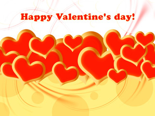 Hearts And Valentin`s Day Card