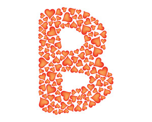 letter b made of valentines over white
