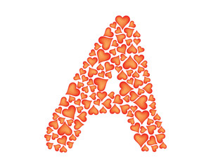 letter a made of valentines over white