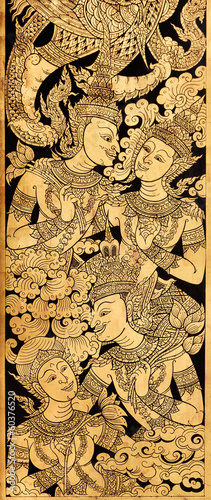 Couple Angel in love, Traditional Thai Style Painting on Temple'