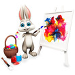 Easter happy bunny with painting