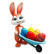Easter happy bunny with color eggs trolley