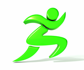 Green figure fitness running image