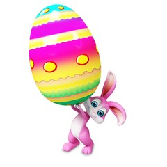Easter happy bunny with big coloring eggs