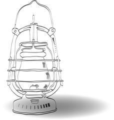 Sketch old kerosene lamp, vector