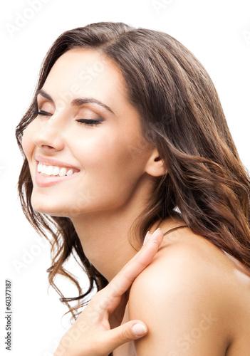 Portrait of beautiful woman, on white