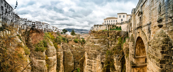 Panoramic view of the old city of Ronda, Spain