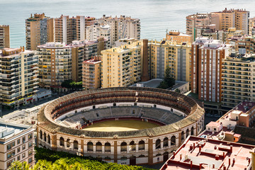 View of bullring, located in the heart of the Malaga city. Spain