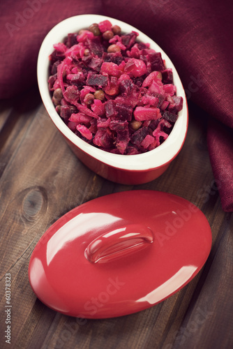 Beetroot salad, vertical shot, high angle view