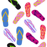 Seamless pattern with flip flops. Summer background.
