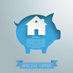 Silver Background Piggy Bank House
