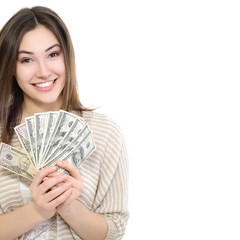 Cheerful attractive young smiling woman holding cash