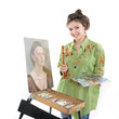attractive teen girl painter drawing portrait with oil paints, p