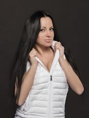 beautiful girl in a white waistcoat