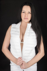 beautiful girl in a white vest