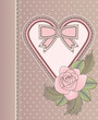 Love vintage card with heart and rose, vector
