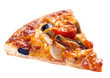 Seafood pizza on white