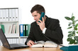 businessman is calling and look at the computer screen